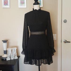 CBR Chiffon Boho Swiss Dot Ruffle Dress